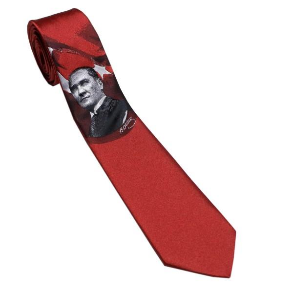 Atatürk İmzalı Kırmızı Kravat