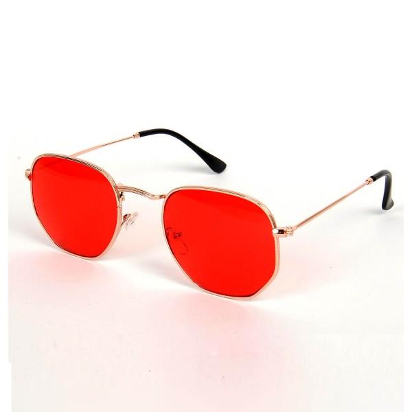 Altıgen Açık Kırmızı Renk Gözlük