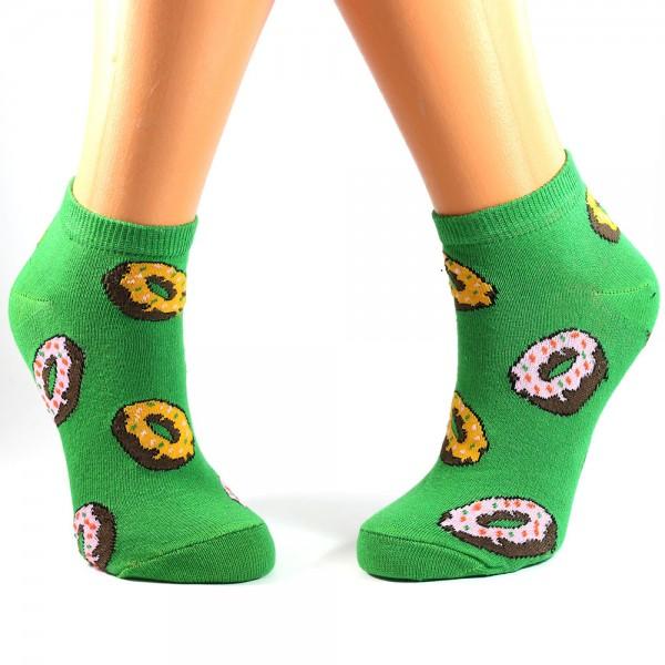 Donut Desenli Yeşil Çorap